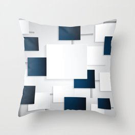 BLACK AND WHITE SQUARES ON A GRAY BACKGROUND Abstract Art Throw Pillow