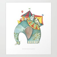 dumbo Art Prints featuring Dumbo  by One Golden Sun