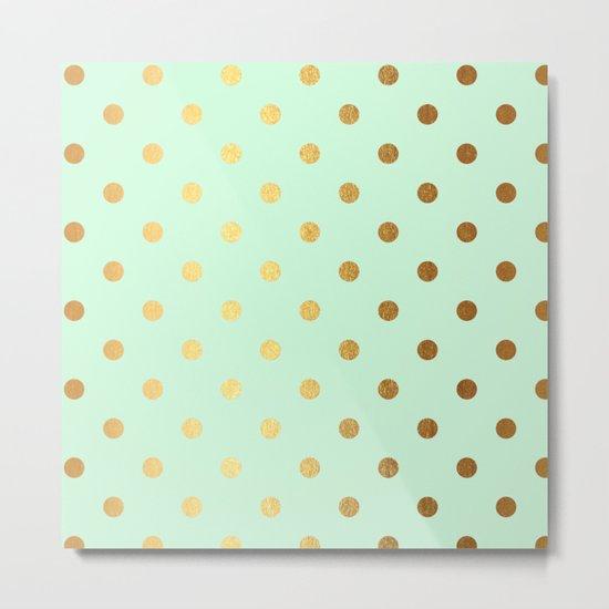 Gold polka dots on mint backround - Luxury greenery pantone pattern Metal Print