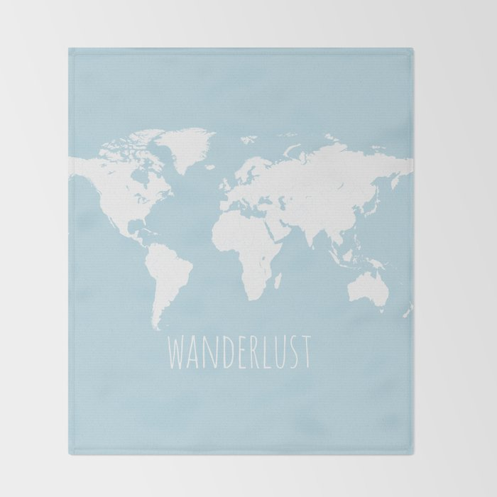 Modern Map Of The World.World Map Wanderlust Quote Modern Travel Map In Light Blue With White Countries Throw Blanket By Lovestorymaps