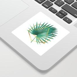 Minimal Tropical Palm Leaf - Palm And Gold - Gold Geometric Shape - Modern Tropical Wall Art - Green Sticker