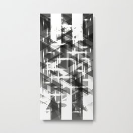 Monochrome vertical strict stripes of glittering black triangles. Metal Print