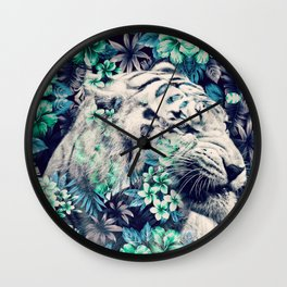 Floral Tiger Wall Clock