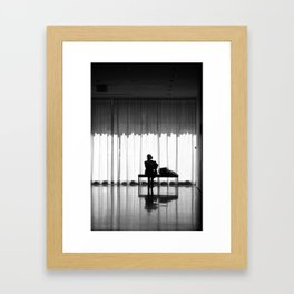 New York MOMA Silhouette in Black & White Framed Art Print
