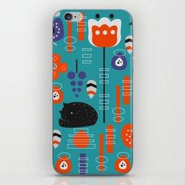 Modern birds and sleepy cats iPhone Skin