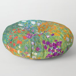 Gustav Klimt Flower Garden Floor Pillow