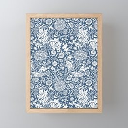 William Morris Navy Flower Field Pattern Framed Mini Art Print