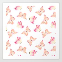 Hand painted pink coral watercolor pretty butterflies Art Print