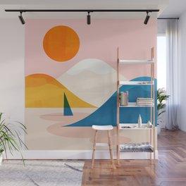 Abstraction_Lake_Sunset_Minimalism_002 Wall Mural