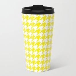 Yellow Houndstooth Pattern Design Travel Mug
