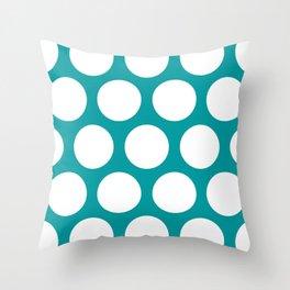 Large Polka Dots: Teal Throw Pillow