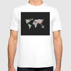 world currency map MEDIUM Mens Fitted Tee White