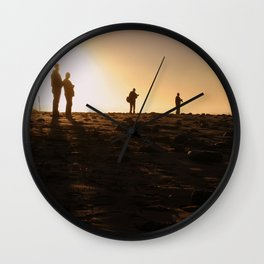 Photographers At Sunset Wall Clock
