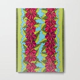 Hibiscus Rows Pattern Metal Print