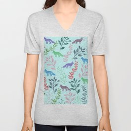 Watercolor Floral & Fox Unisex V-Neck