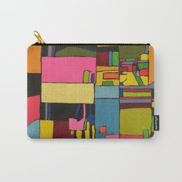 Colors in Collision 2 - Geometric Abstract in Blue Yellow Pink and Green Carry-All Pouch