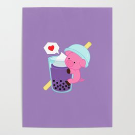 Pig with Purple Bubble Tea Poster