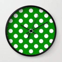Islamic green - green - White Polka Dots - Pois Pattern Wall Clock