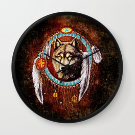 Indian Native Wolf Dreamcatcher iPhone 4 5 6 7, ipod, ipad, pillow case and tshirt Wall Clock