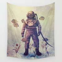 garden Wall Tapestries featuring Deep Sea Garden - colour option by Terry Fan