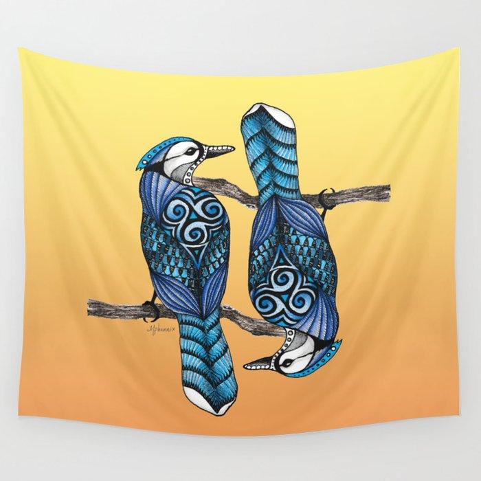 Blue Jay Totem Wall Tapestry