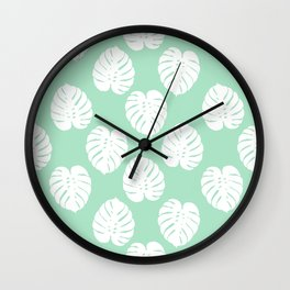 House plant monstera leaf tropical trendy pattern mint and white gender neutral decor Wall Clock
