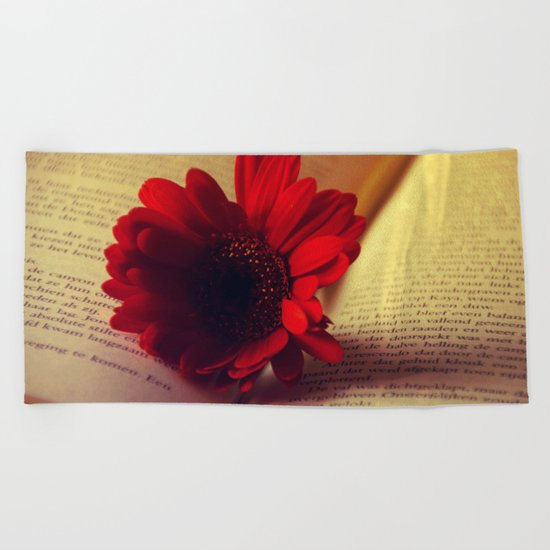 Shiny red gerbera Beach Towel