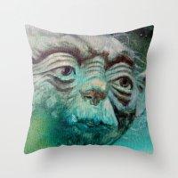 yoda Throw Pillows featuring YODA by ARTito