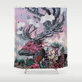 Journeying Spirit (deer) sunset Shower Curtain