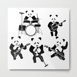 Panda Rock Band Metal Print