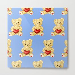 Cute Teddy Bears Blue Pattern Metal Print