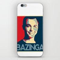 bazinga iPhone & iPod Skins featuring Bazinga Poster by JohnLucke