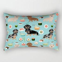 dachshund sushi multi coat doxie dog breed cute pattern gifts Rectangular Pillow