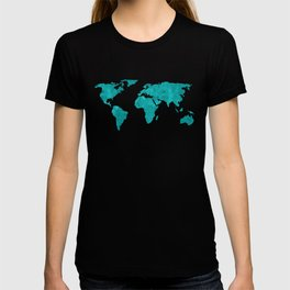 Turquoise Metallic Foil World Map T-shirt