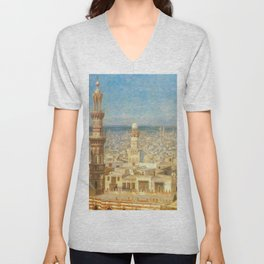 Islamic Masterpiece 'View of Cairo, Egypt' by Jéan Leon Gerome Unisex V-Neck