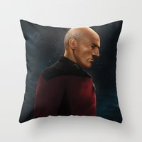 picard Throw Pillows featuring Picard by Raven Krupnow