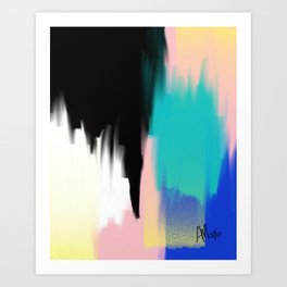 Turquoise Light and Yellow Art Print