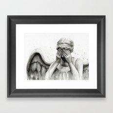 Weeping Angel Watercolor Painting Framed Art Print