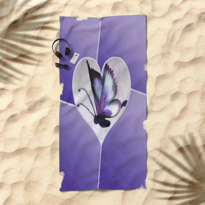 Butterfly Love - Purple Beach Towel