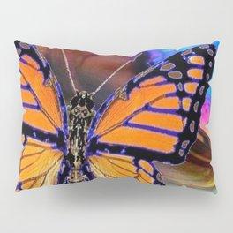 ORANGE MONARCH BUTTERFLY & SOAP BUBBLE IN BLUE OPTICAL ART Pillow Sham