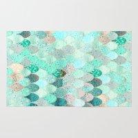 mermaid Area & Throw Rugs featuring SUMMER MERMAID by Monika Strigel