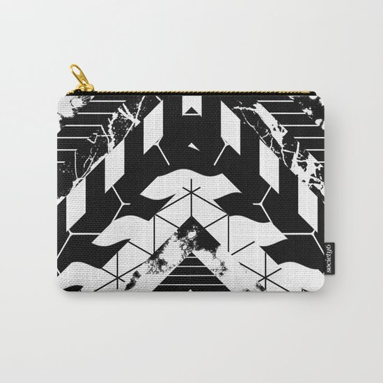 Layered (Black and white, abstract, geometric designs) Carry-All Pouch