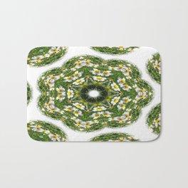 Little White Wildflower Kaleidoscope Art 2 Bath Mat