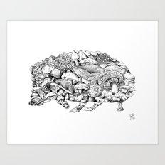 Mushroom Hedgehog Art Print
