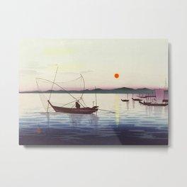 Fishing boats at sunset - Vintage Japanese Woodblock Print Art Metal Print