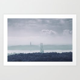 The view from Monsanto. Ponte 25 de Abril. Lisboa, Portugal. Art Print