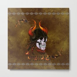 Awesome viking skull with helmet, viking ship and flame Metal Print