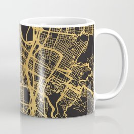 MEDELLIN COLOMBIA GOLD ON BLACK CITY MAP Coffee Mug