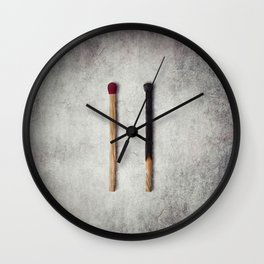two matches closeup Wall Clock