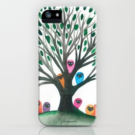 Minnesota Whimsical Owls in Tree iPhone Case